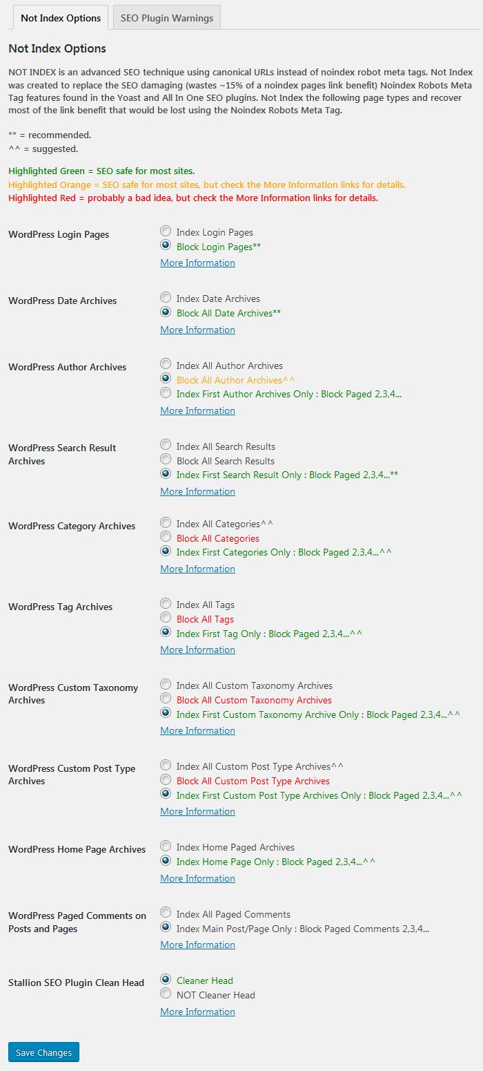 Giao diện cài đặt của Stallion WordPress SEO Plugin