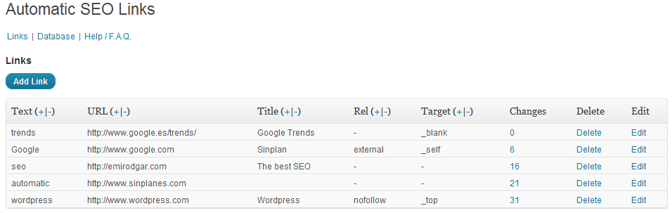 Giao diện sử dụng của Automatic SEO Links