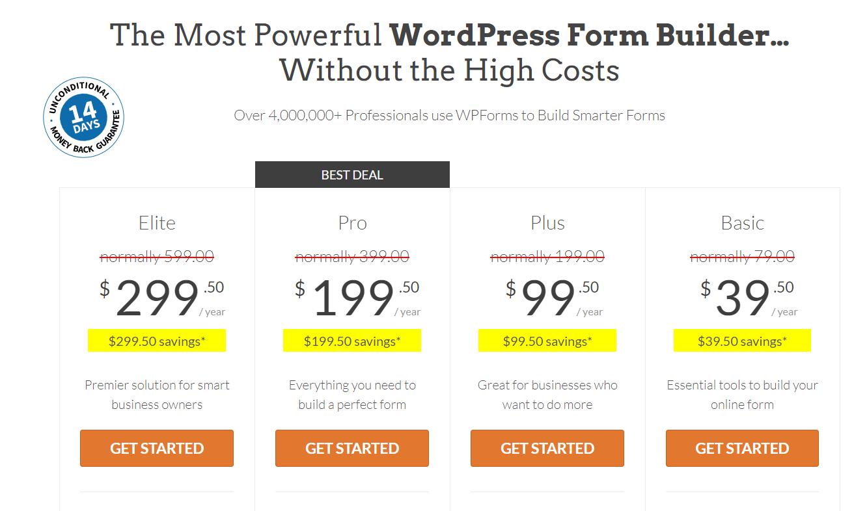 Bảng giá plugin khảo sát WPForms