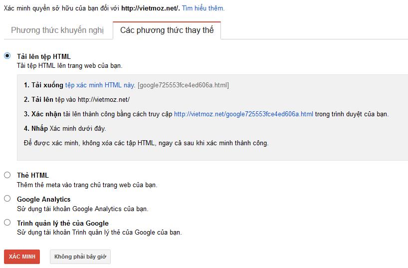 Xác minh bằng cách tải và up tệp tin HTML
