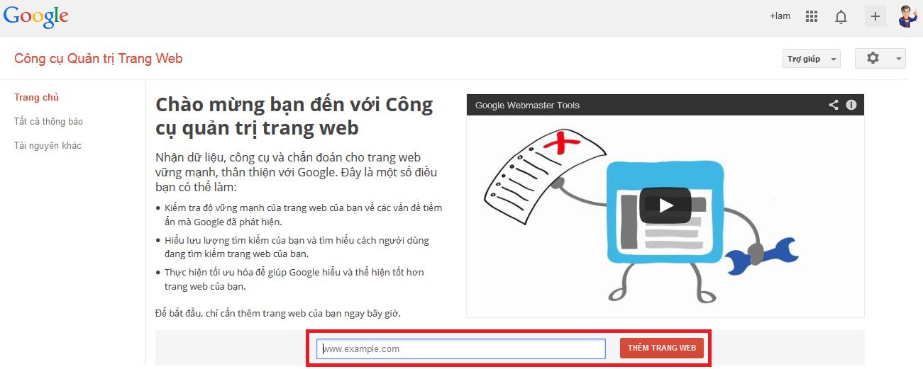 Lần đầu đăng nhập Google Webmaster Tool
