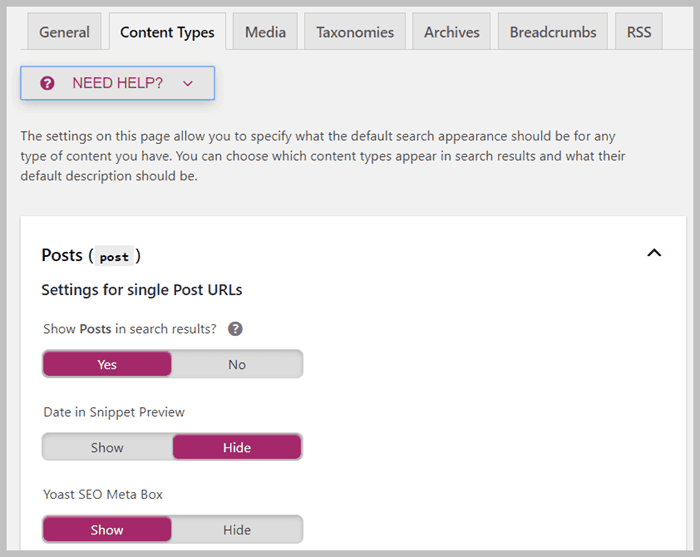 content types setting