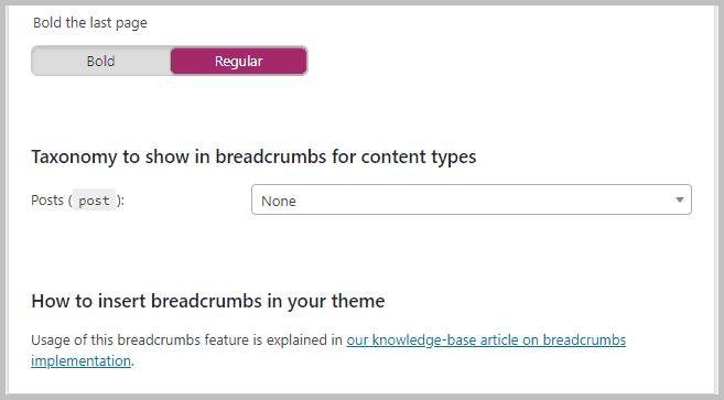 Breadscrumbs settings