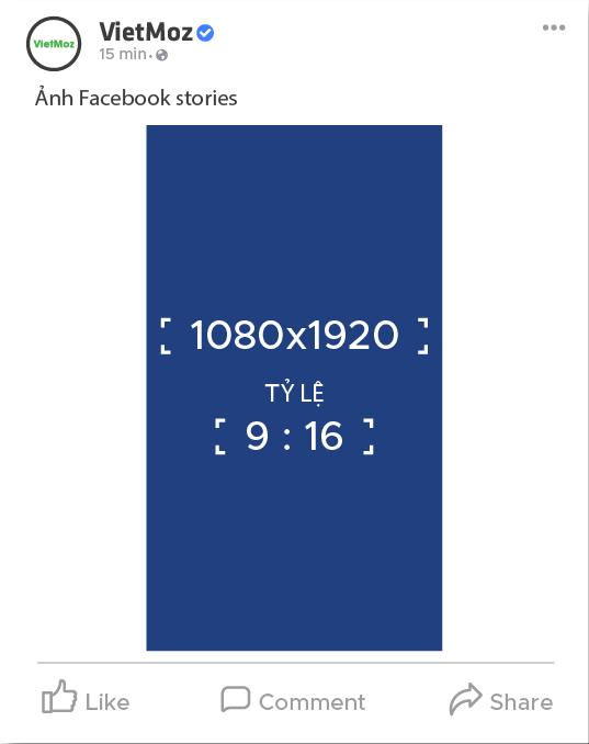 kích thước ảnh đăng facebook stories