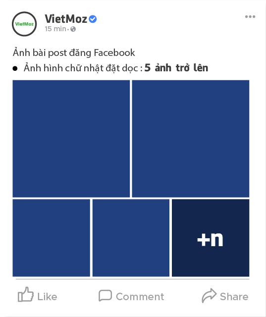 kích thước hiển thị từ 6 ảnh hình chữ nhật dọc trên facebook