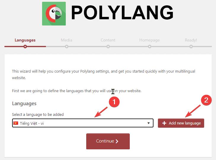 cấu hình đa ngôn ngữ polylang