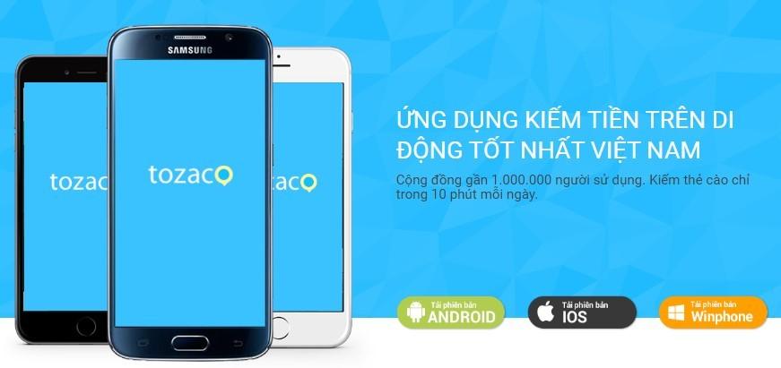 Kiếm tiền bằng cách tải game, ứng dụng với Tozaco