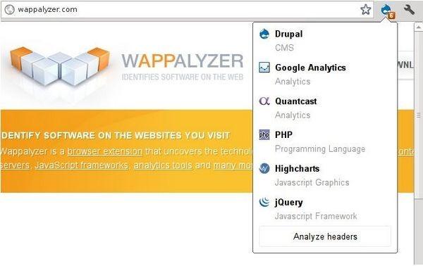 Addon Extension Wappalyzer