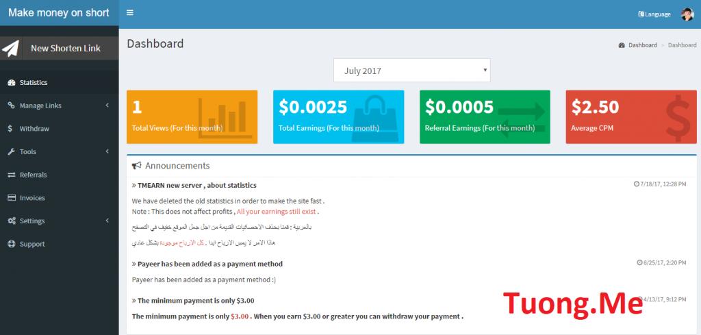 Tmearn - Trang web rút gọn link kiếm tiền có rate 2.5$ cao nhất VN