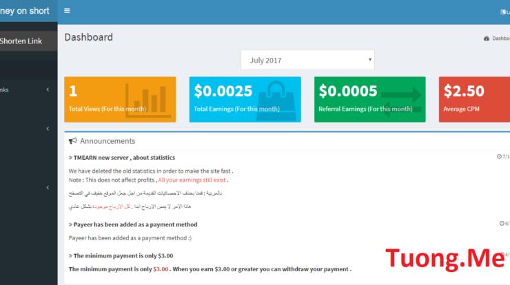 Tmearn Trang web rut gon link kiem tien co rate 2.5 cao nhat VN 2