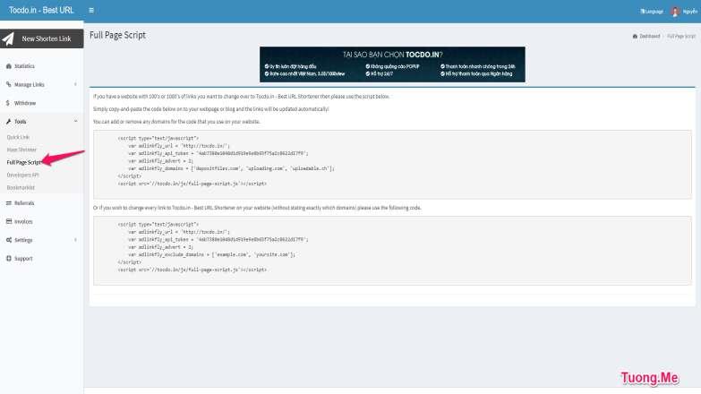 Hướng dẫn cách rút gọn link kiếm tiền với Tocdo.In - Rate 3$/1000view