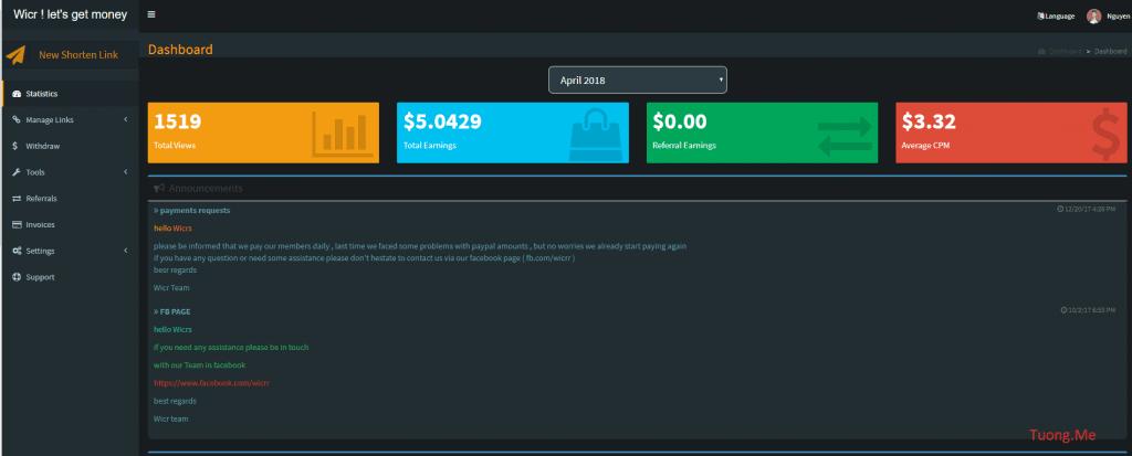 Kiếm tiền Online tại nhà với trang web rút gọn link kiếm tiền WiCr